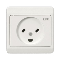 Socket for the tilted flattened pins and half-round earth pin of Danish computer equipment plug (mainly used in professional environment), standard DK 2-5a