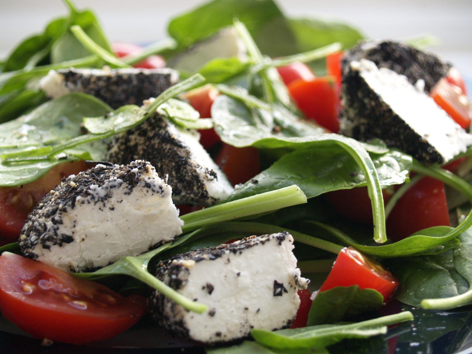 Wilted Spinach Salad with Warm Feta Dressing recipe   Epicurious.com