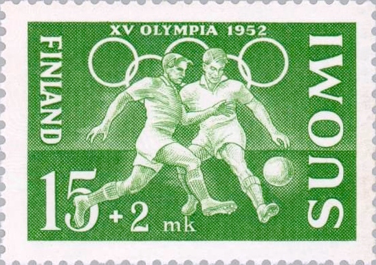 Description de l'image Football at the 1952 Summer Olympics Finnish stamp.jpg.
