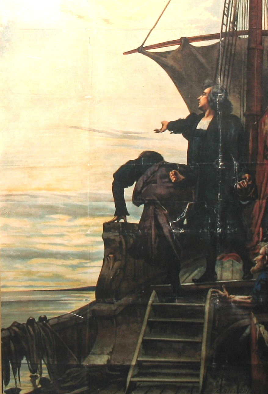 Foto: Cristoforo Colombo sulla tolda della nave indica la via per il Nuovo mondo