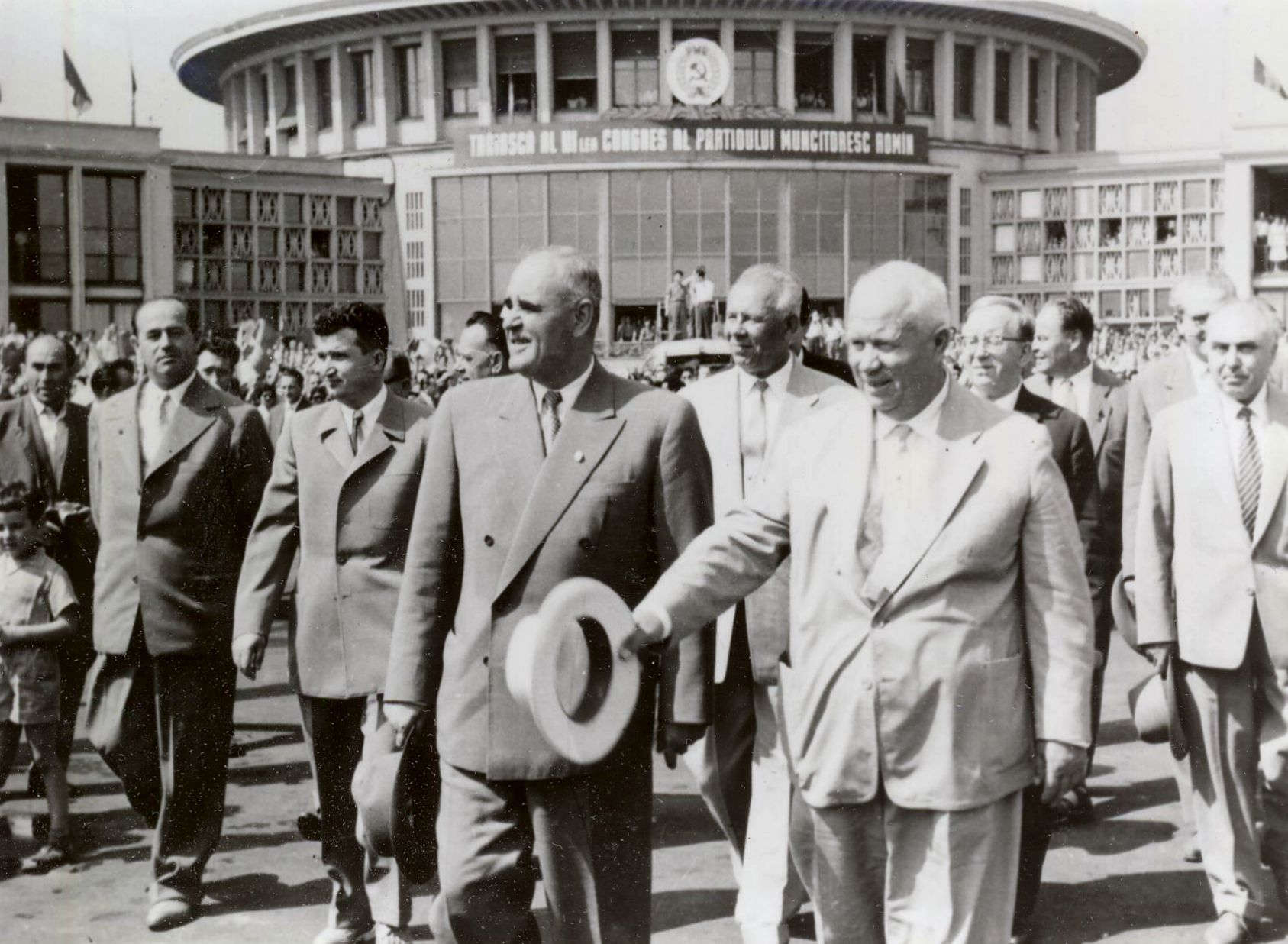 Gheorghiu-Dej & Khrushchev at Bucharest's Baneasa Airport (June 1960).jpg