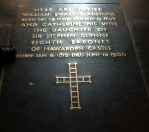 [William and Catherine Gladstone's grave in Westminster Abbey]