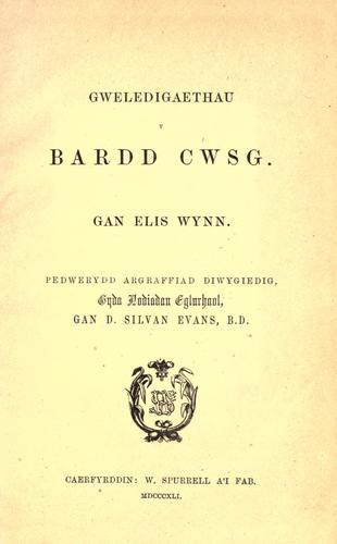 Gweledigaethau'r Bardd Cwsg D.S.Evans (ed.) 4th ed