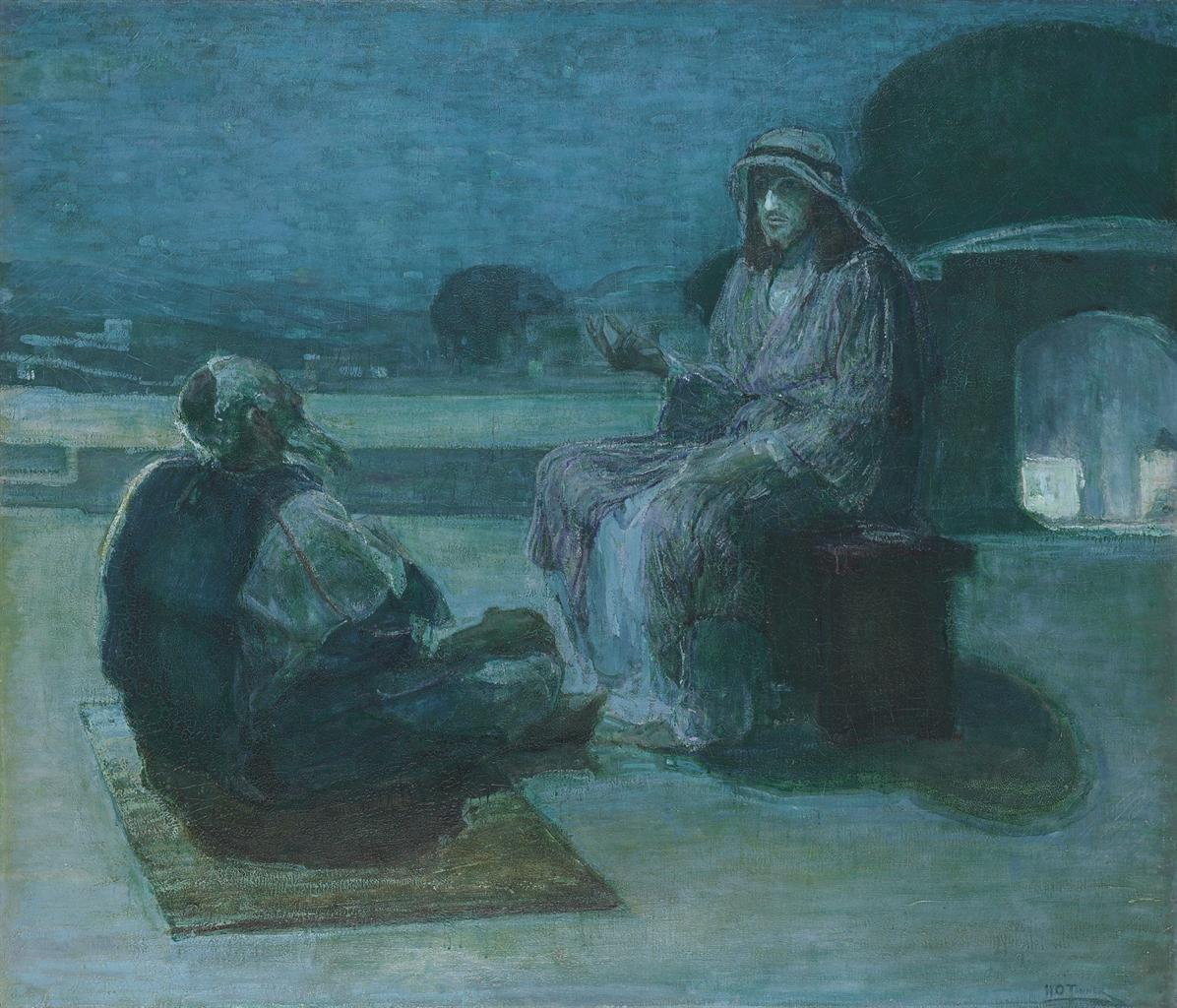 Nocturnal - the best nocturne paintings: Henry Ossawa Tanner, Nicodemus Coming to Christ