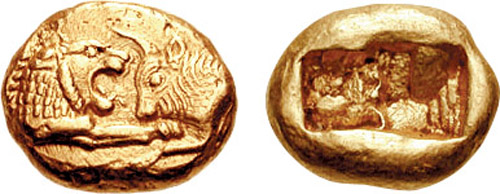 Gold croeseid of Croesus c.550 BC, depicting the Lydian lion and Greek bull - partly in recognition of transnational parentage. Kroisos BMC 31.jpg