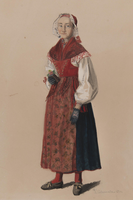 100% äkta på fötter kl exklusivt sortiment File:Kvinna i dräkt . Akvarell av P.Södermark - Nordiska museet ...