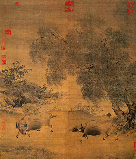 Homeward Oxherds in Wind and Rain (風雨歸牧圖), by Chinese artist Li Di, 12th century, ink and color on silk.