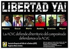 Poster calling for the release of the ACVC political prisoners