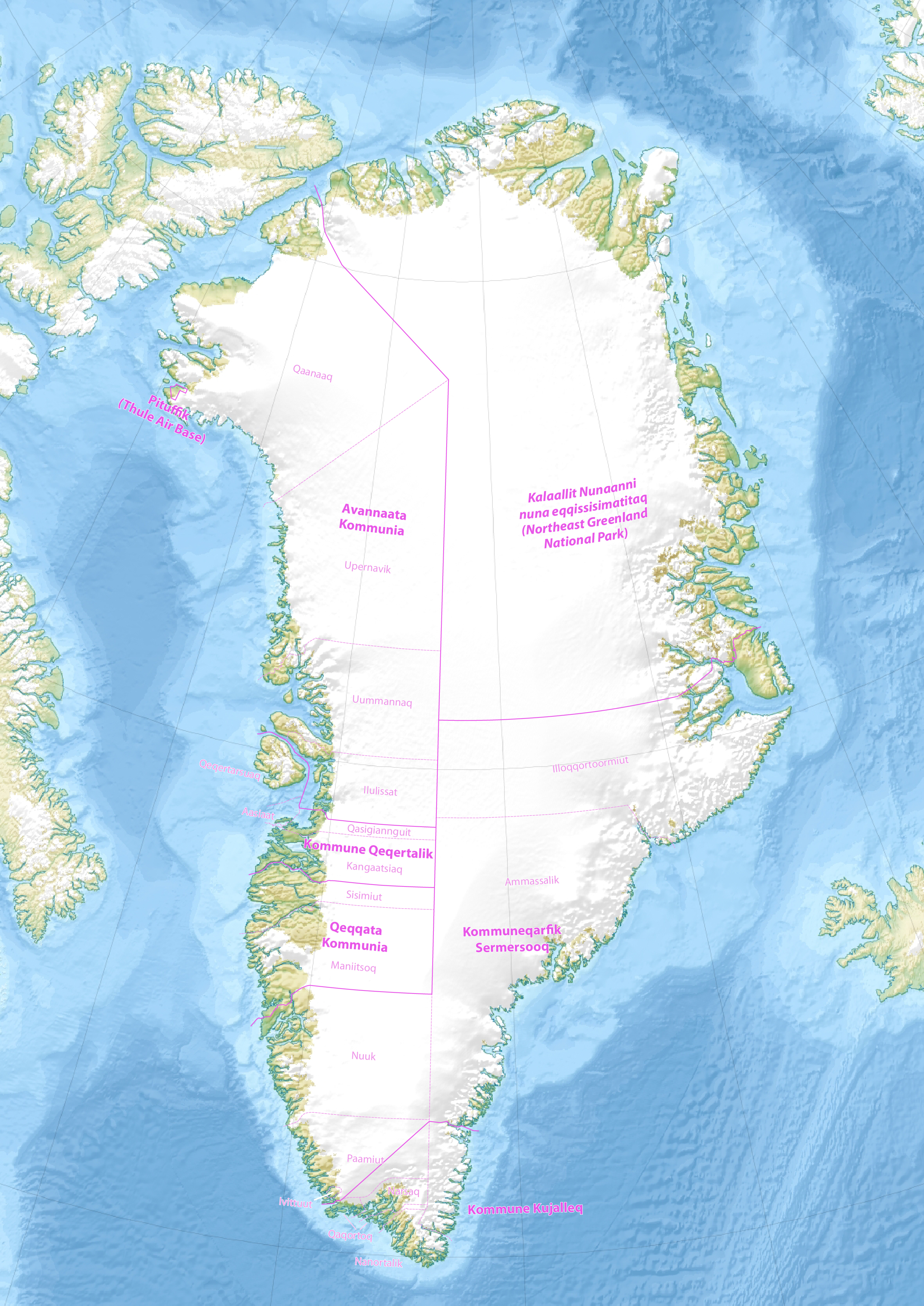 File Map Of The Municipalities And Districts Of Greenland Jpg