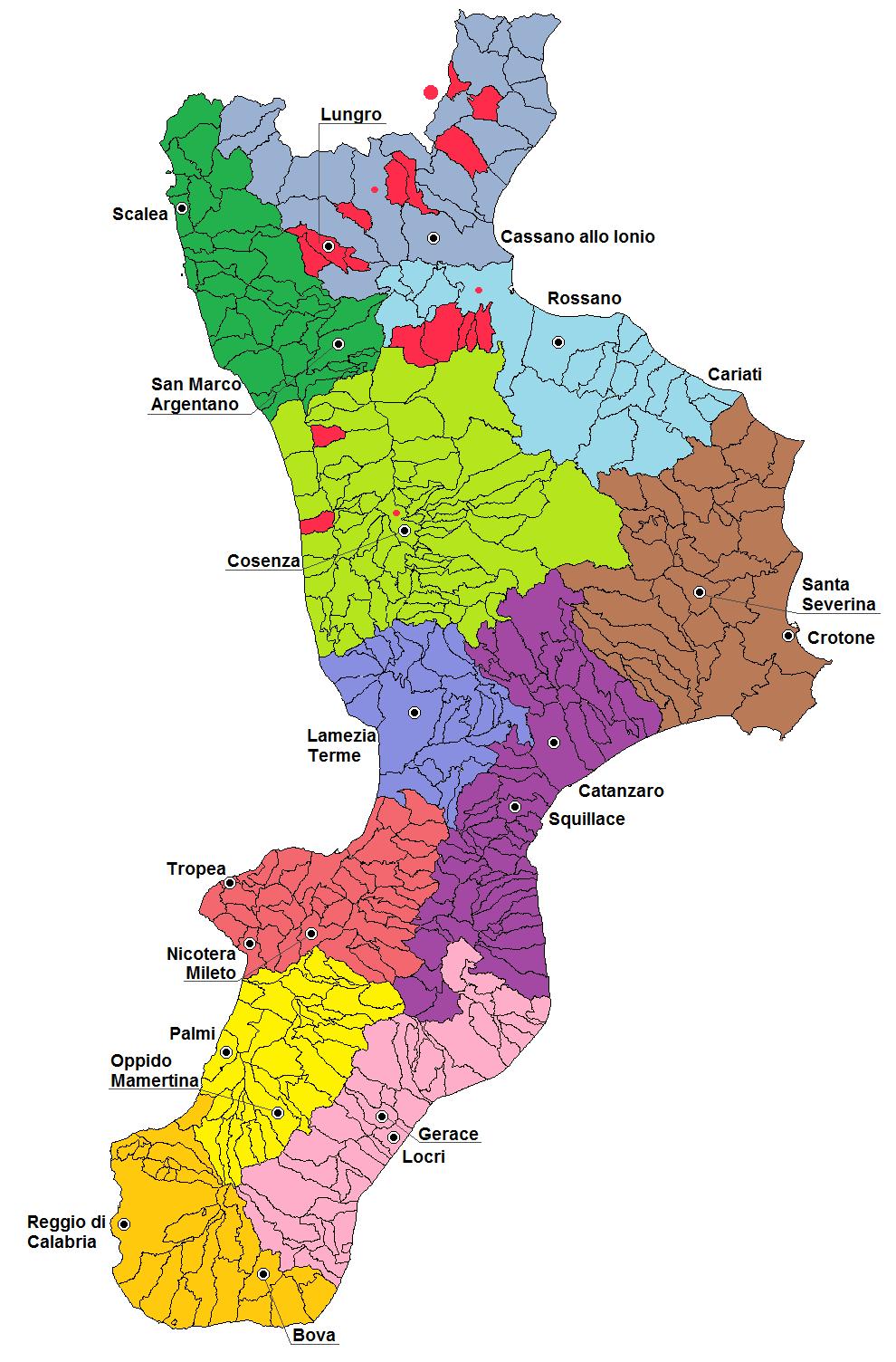 Cartina Calabria Catanzaro.File Mappa Delle Diocesi Della Calabria Png Wikipedia