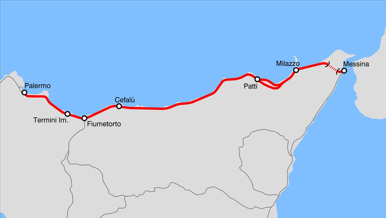 Cartina Sicilia Tindari.Ferrovia Palermo Messina Wikipedia