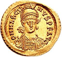 Gold coin depicting Marcian