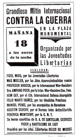 Publicidad para una reunión contra la guerra en la plaza de toros de Barcelona, Cataluña, (España) con Souchy en la lista como uno de los oradores.Entre otros oradores nombrados fueronJosé Brocca,Federica MontsenyyAmparo Poch y Gascón.El evento estaba programado para el 18 de julio de 1936.