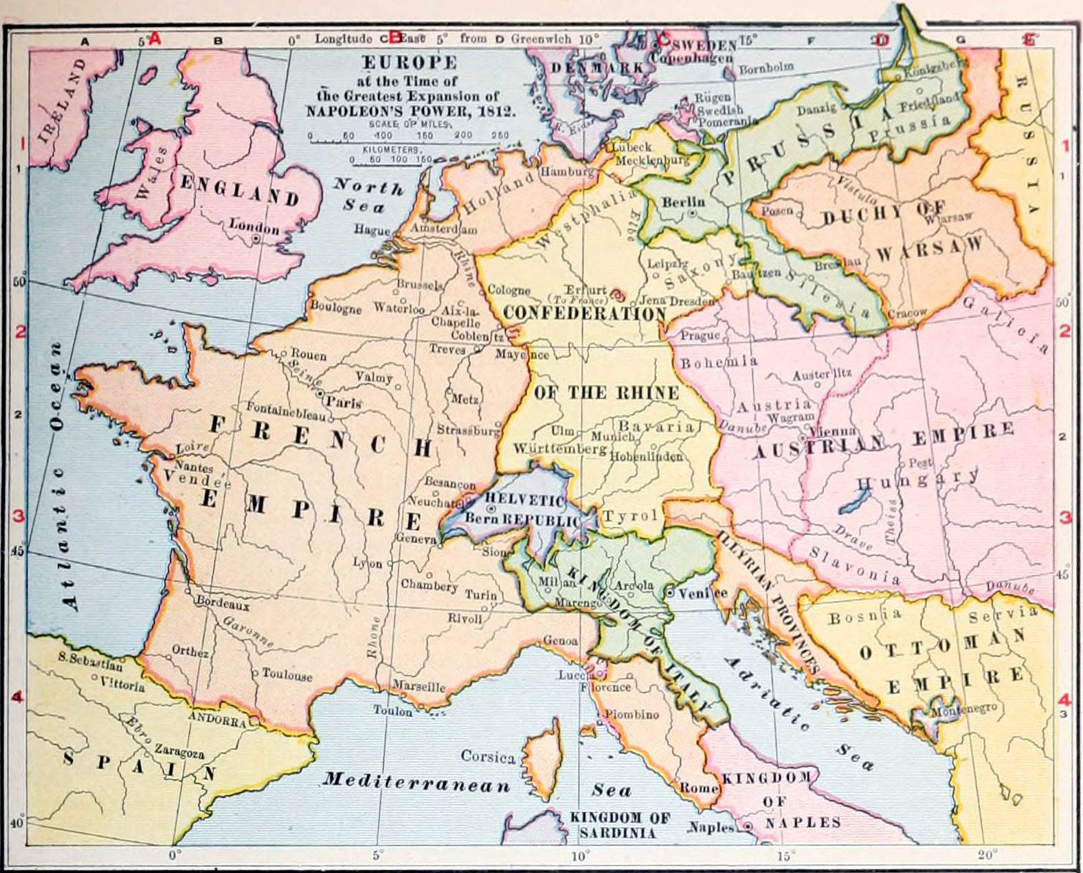 FileNIE 1905 Europe Time Of Napoleons Greatest Powerjpg - Map Of Mountain Ranges In Us