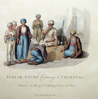 An illustration of Jezzar Pasha's court - History of Palestine