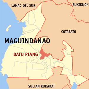 Map of Maguindanao showing the location of Datu Piang