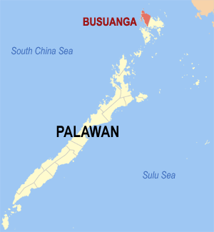 Map of Palawan showing the location of Busuanga