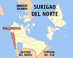 Map of Surigao del Norte showing the location of Malimono