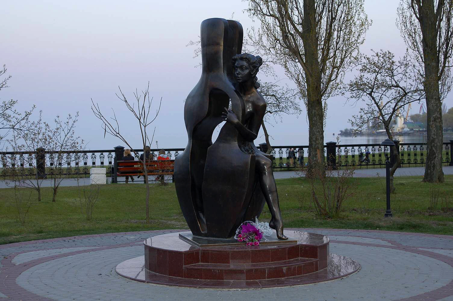 The sculpture was unveiled in 2008 on the Pushkin Embankment in downtown Taganrog in Rostov Oblast, Russia in honor of Chekhov's 150th birth anniversary