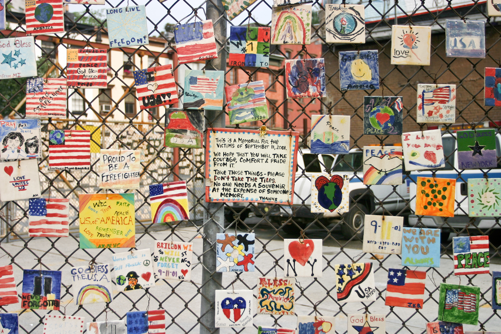 September 11th quotes quotes about september 11th sayings about - Series Of Hand Painted Tiles Dedicated To The Victims Of The September 11 Attacks On The Fence Of A Car Lot In New York City