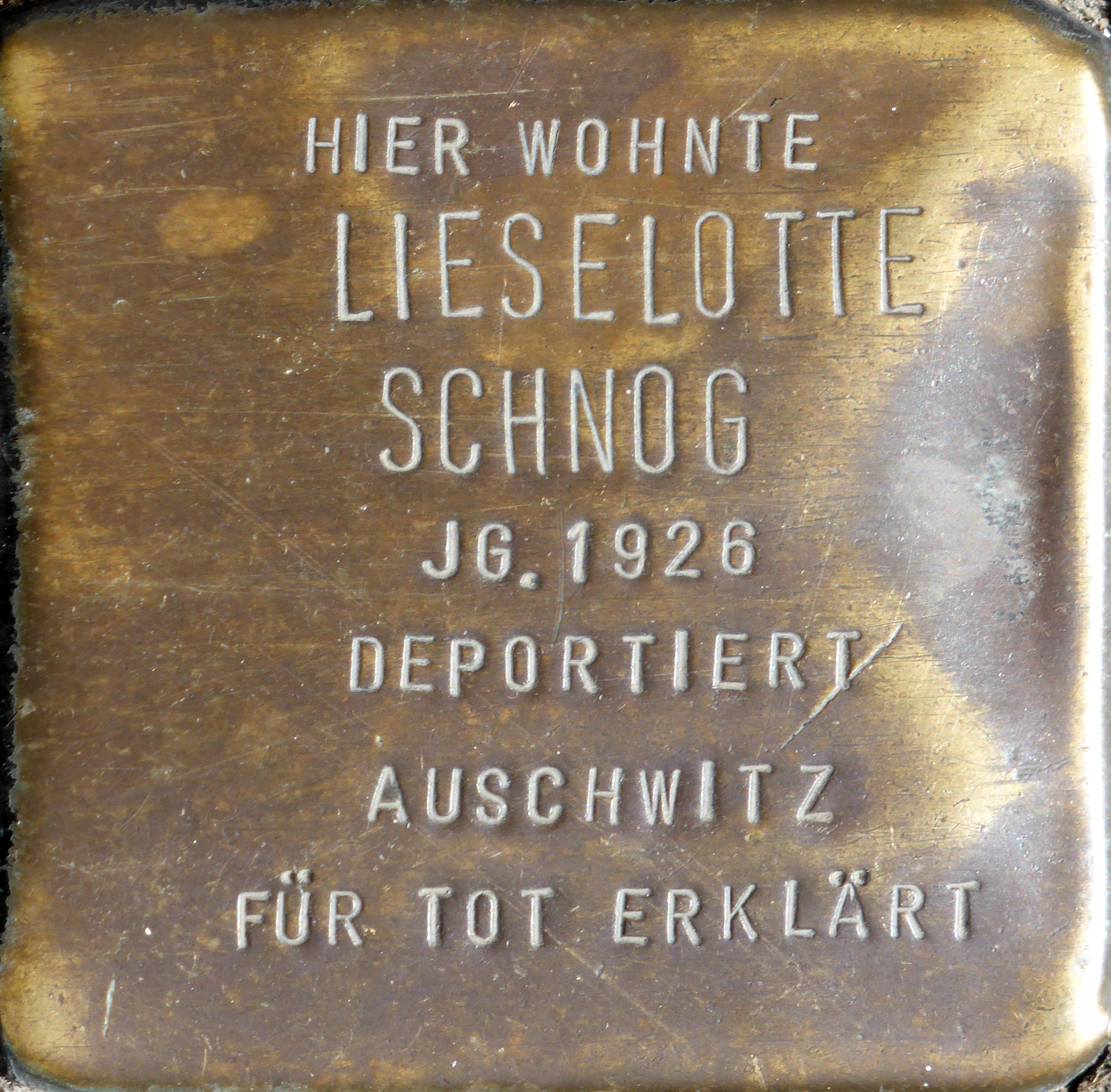 Commemorative Sch | Datei Stolpersteine Koln Lieselotte Schnog Krummer Buchel 18 Jpg