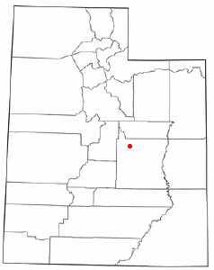 Location of Huntington, Utah