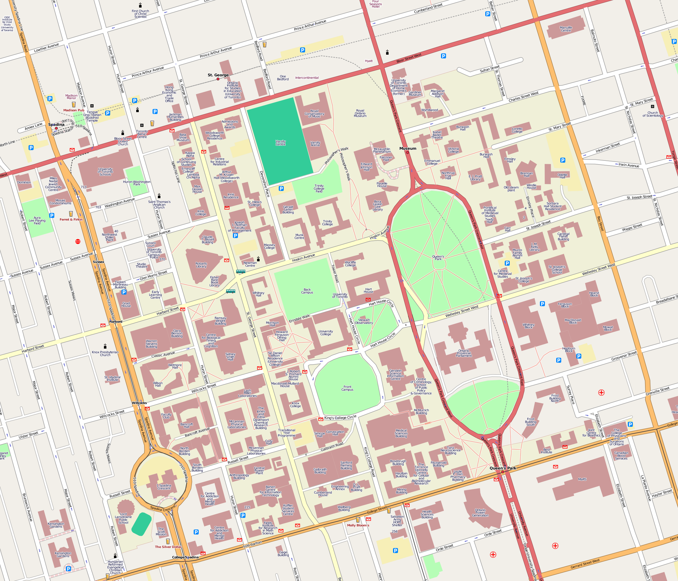 Map U Of T File:U of T map.png   Wikimedia Commons