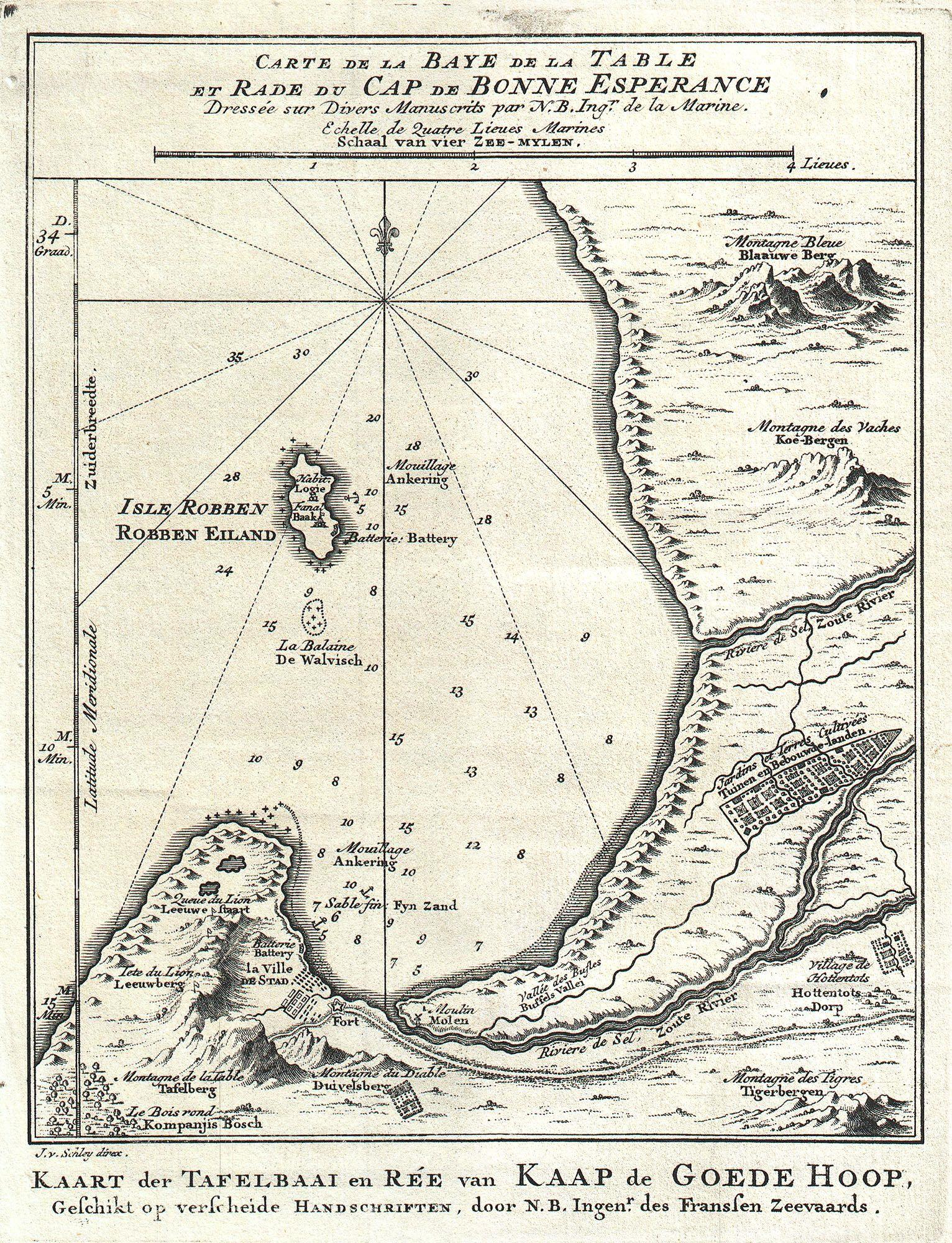 File:1773 Bellin Map of the Cape of Good Hope, Capetown, South ...