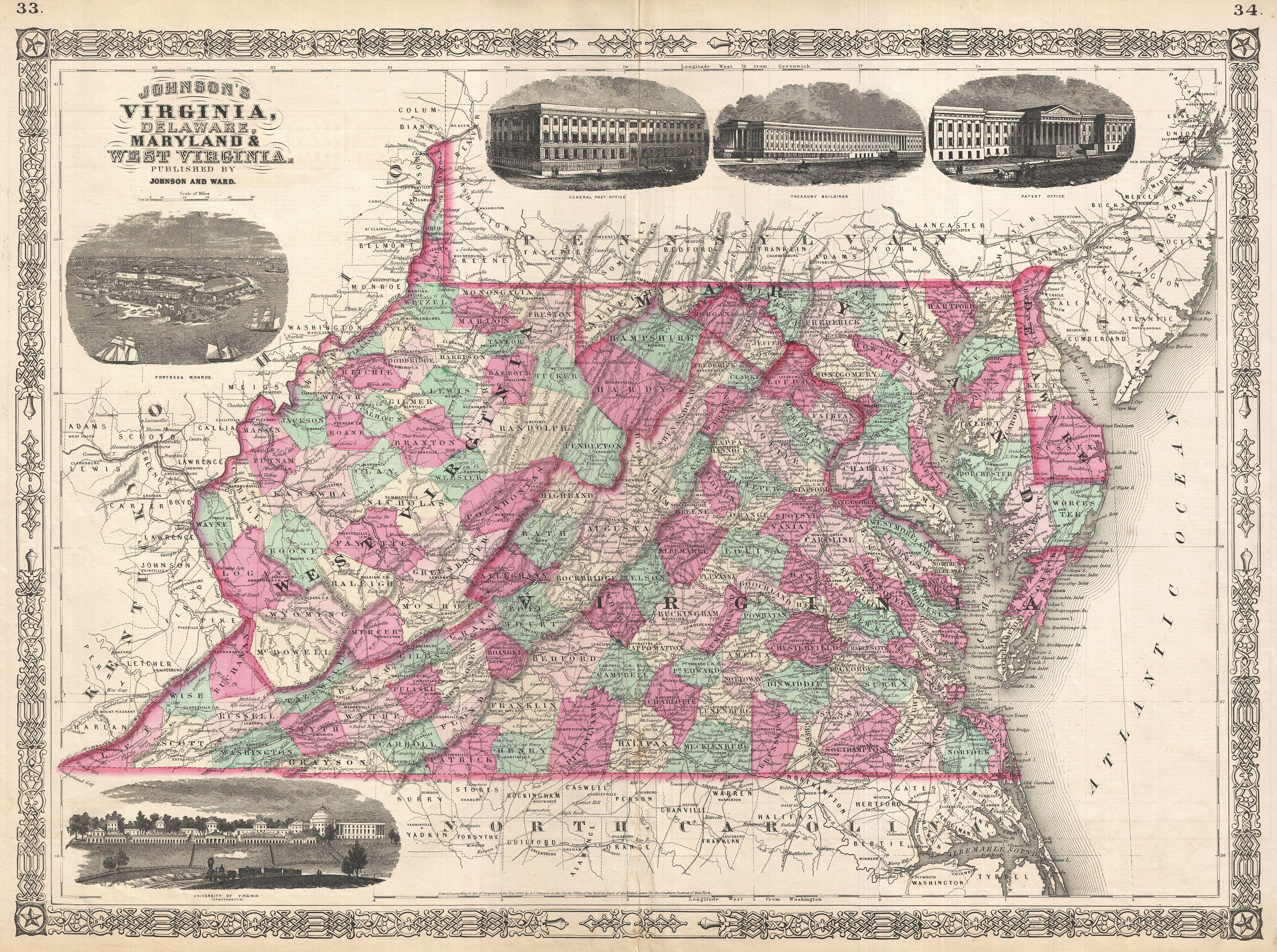 File 1866 Johnson Map Of Virginia West Virginia Maryland And Delaware Geographicus