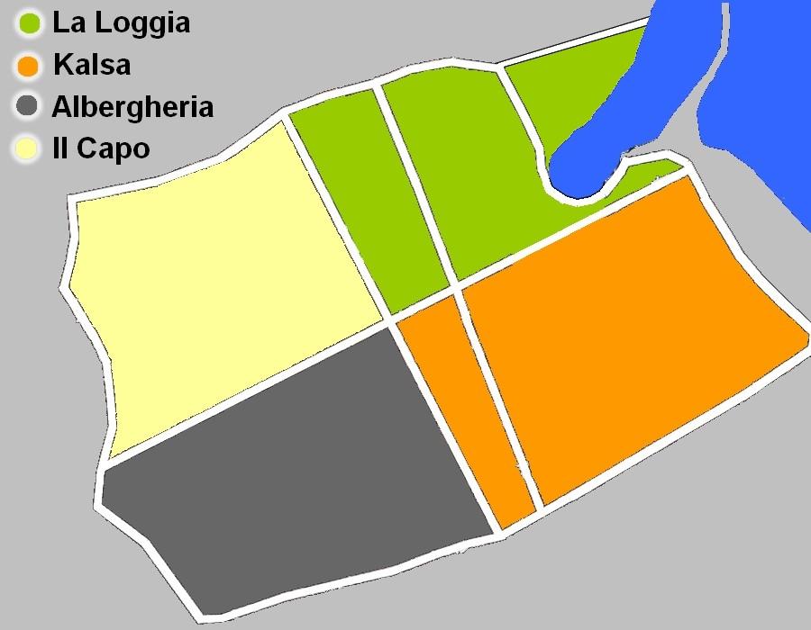 Carte de Vieux Palerme avec ses quartiers.