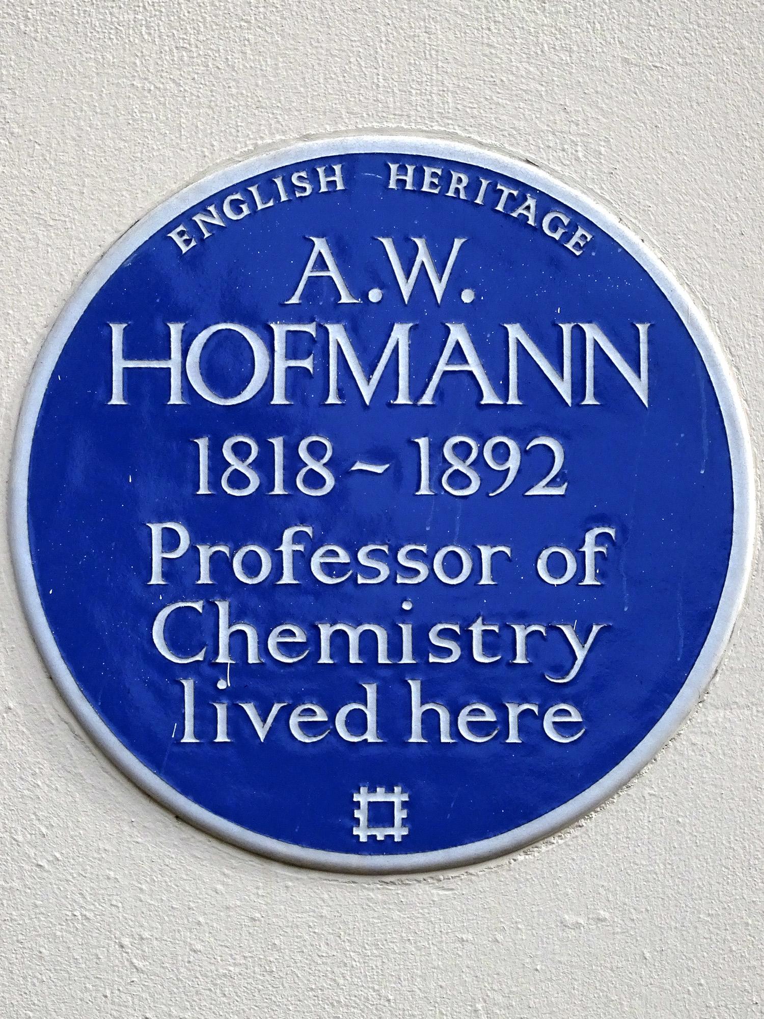 A.W. HOFMANN 1818-1892 Professor of Chemistry lived here.jpg