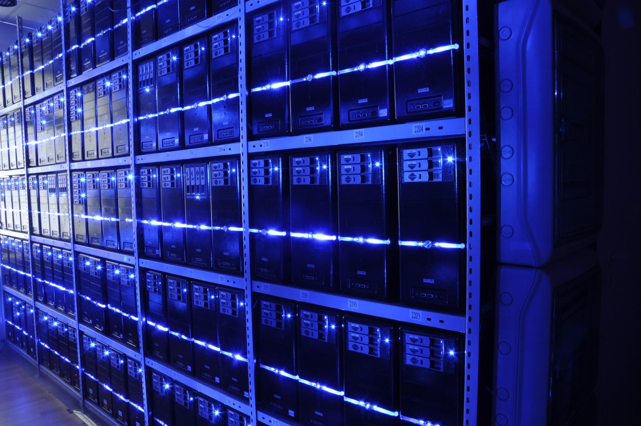 a blue server room