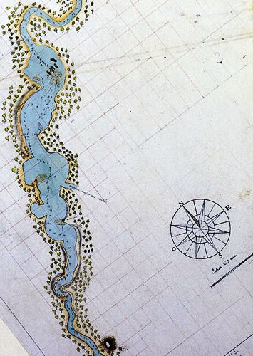 The first detailed map of the Swan River, drawn by the French in 1801