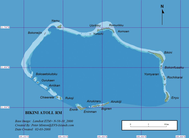 Mapa del atolón de Bikini, que pertenece a las Islas Marshall, y se encuentra en el Océano Pacífico.