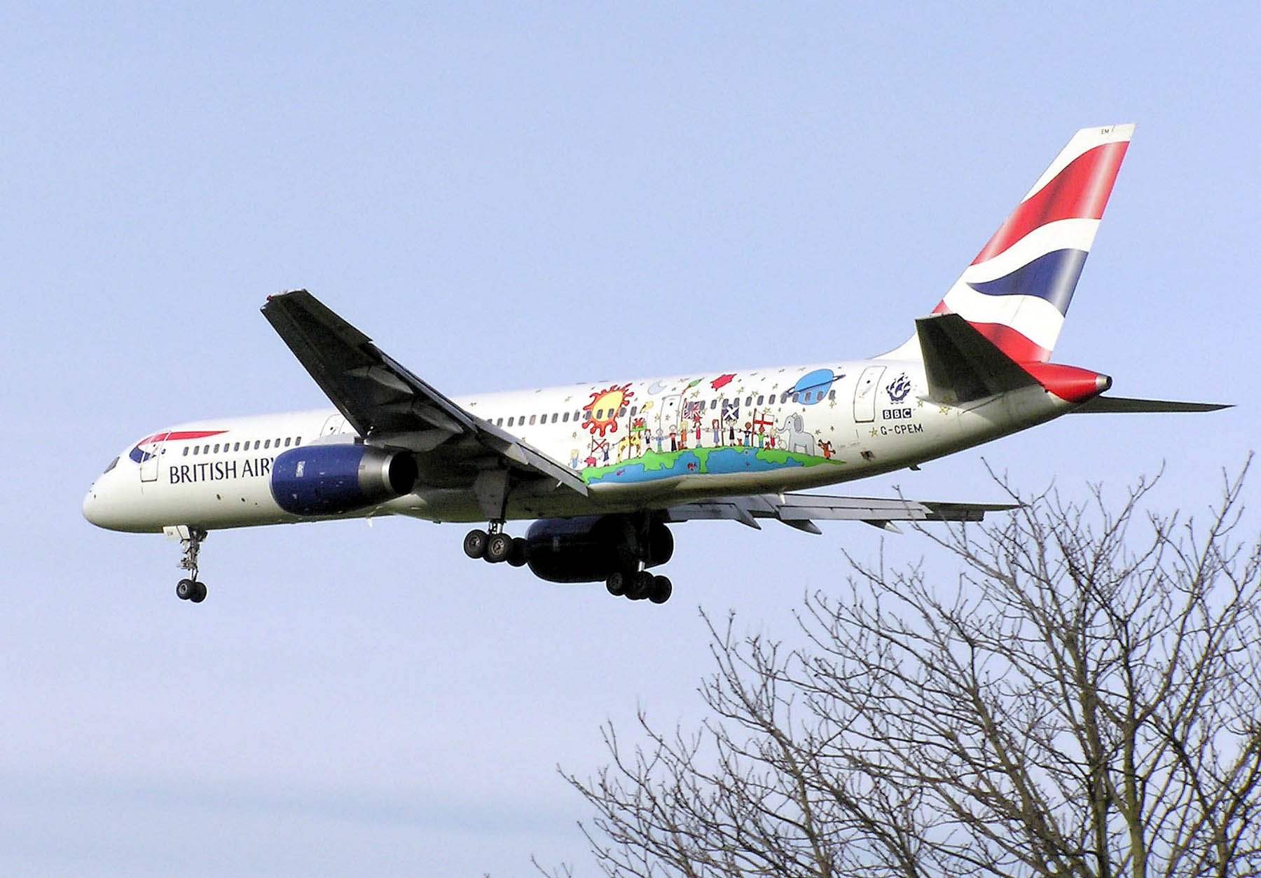The specially painted Blue Peter British Airways Boeing 757 landing at London Heathrow Airport.