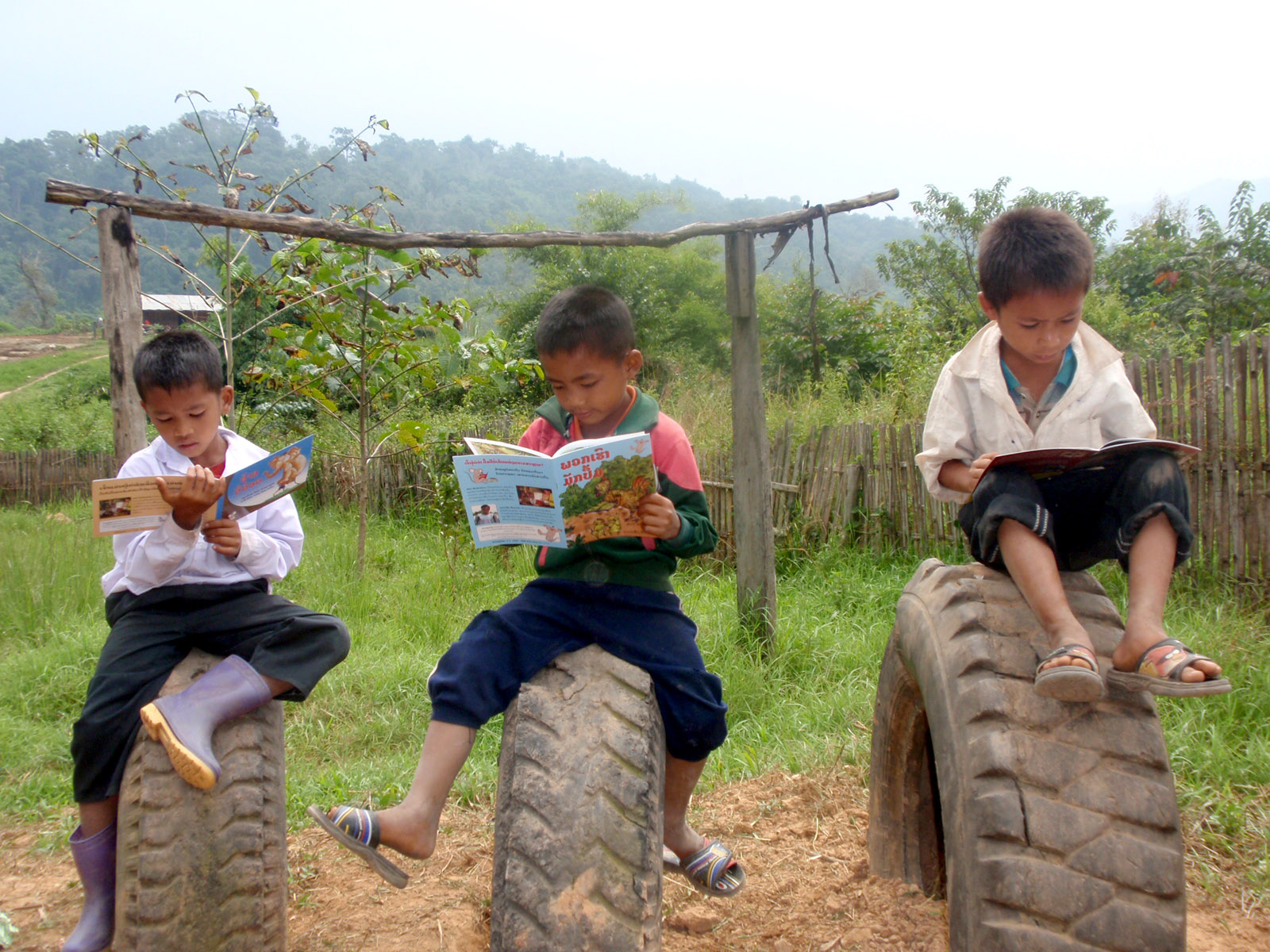 Perched on tires embedded into the ground of a grassy field, three young boys read.