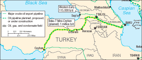 Route of the Baku-Tbilisi-Ceyhan pipeline.