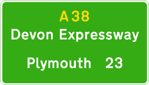 Typical route confirmation sign seen on the Devon Expressway