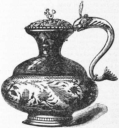 EB1911 Ceramics Fig. 40.—Persian Ewer, white ground, with pattern in brown copper lustre.jpg