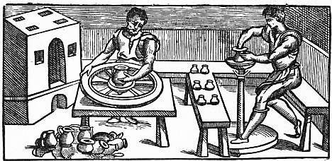 EB1911 Ceramics Fig. 5.—Two forms of Italian potter's wheels.jpg