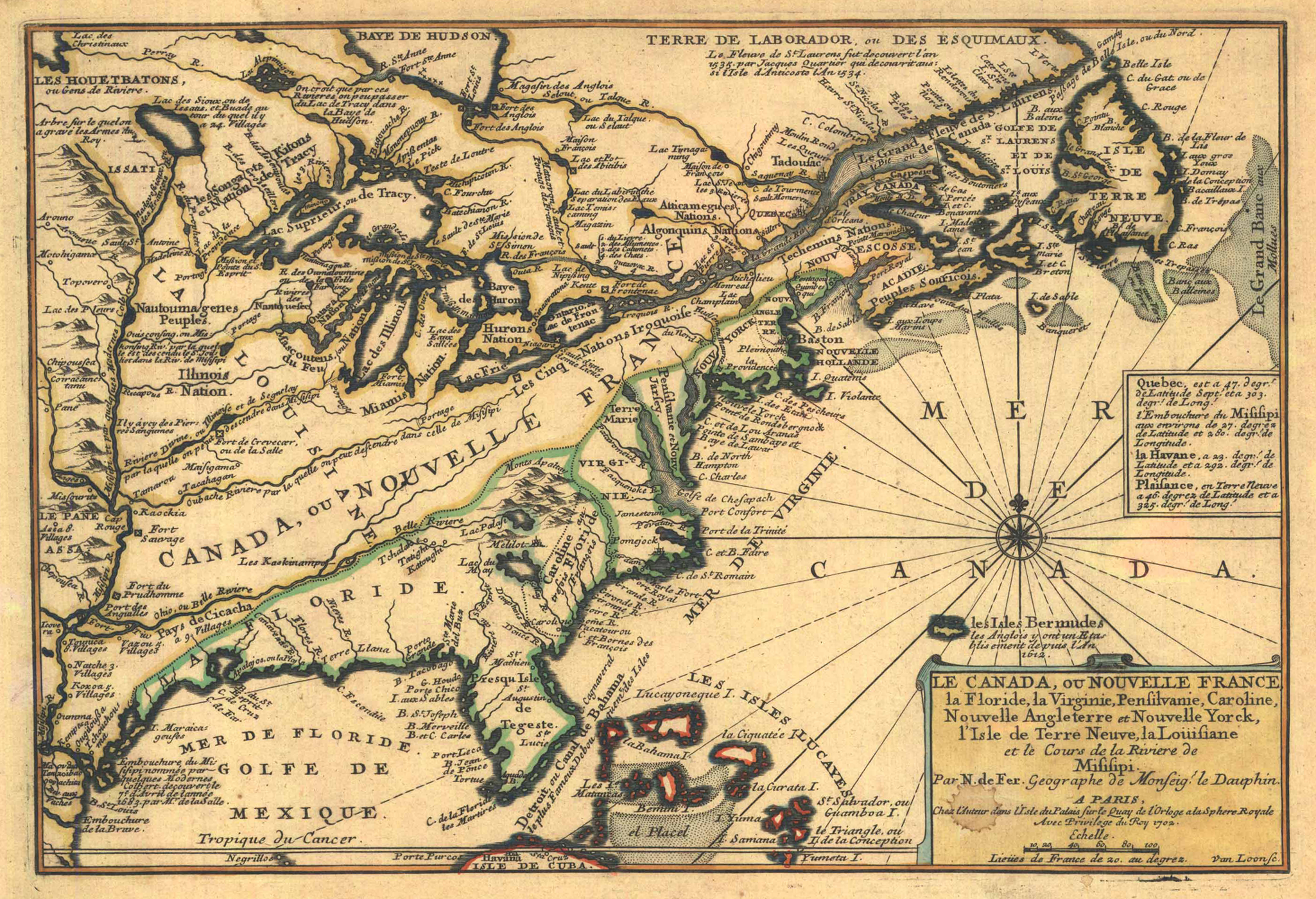 Original title:  Nicolas de Fer: Le Canada, ou Nouvelle France, la Floride, la Virginie, Pensilvanie, Caroline ..., Paris 1702 From: L'Atlas curieux, ou la Monde..., quatrième partie, 1703