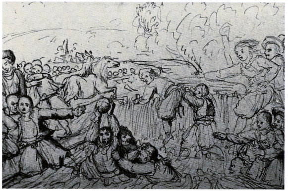18th century French illustration of a mob football match - History of Rugby Football