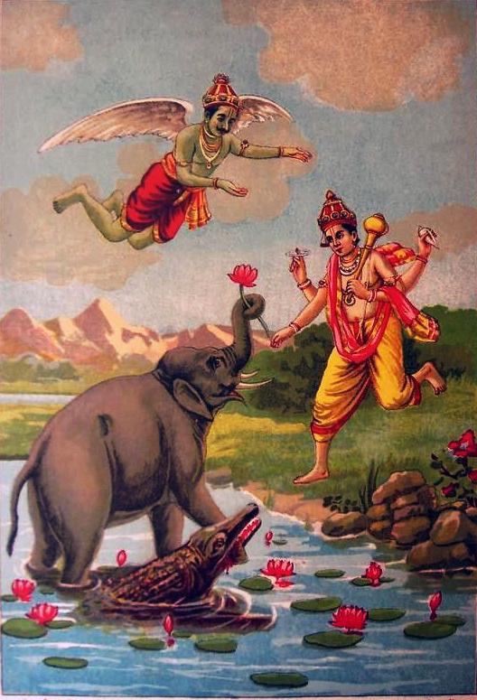 courtesy : http://upload.wikimedia.org/wikipedia/commons/5/5d/Gajendra_Moksha_print.jpg