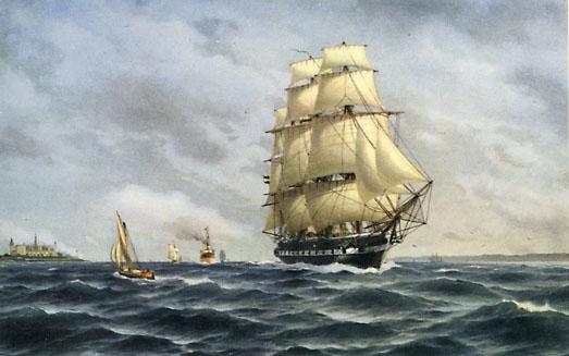 Målning över skeppet Vanadis av Jacob Hägg.