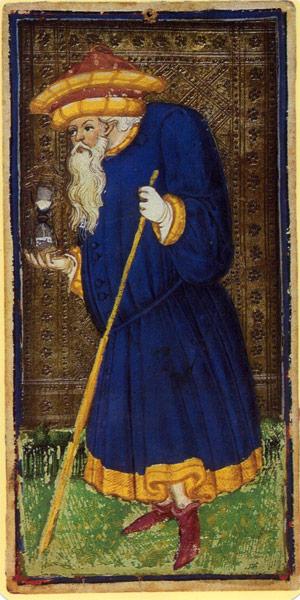 Visconti-Sforza tarot deck. Hermit