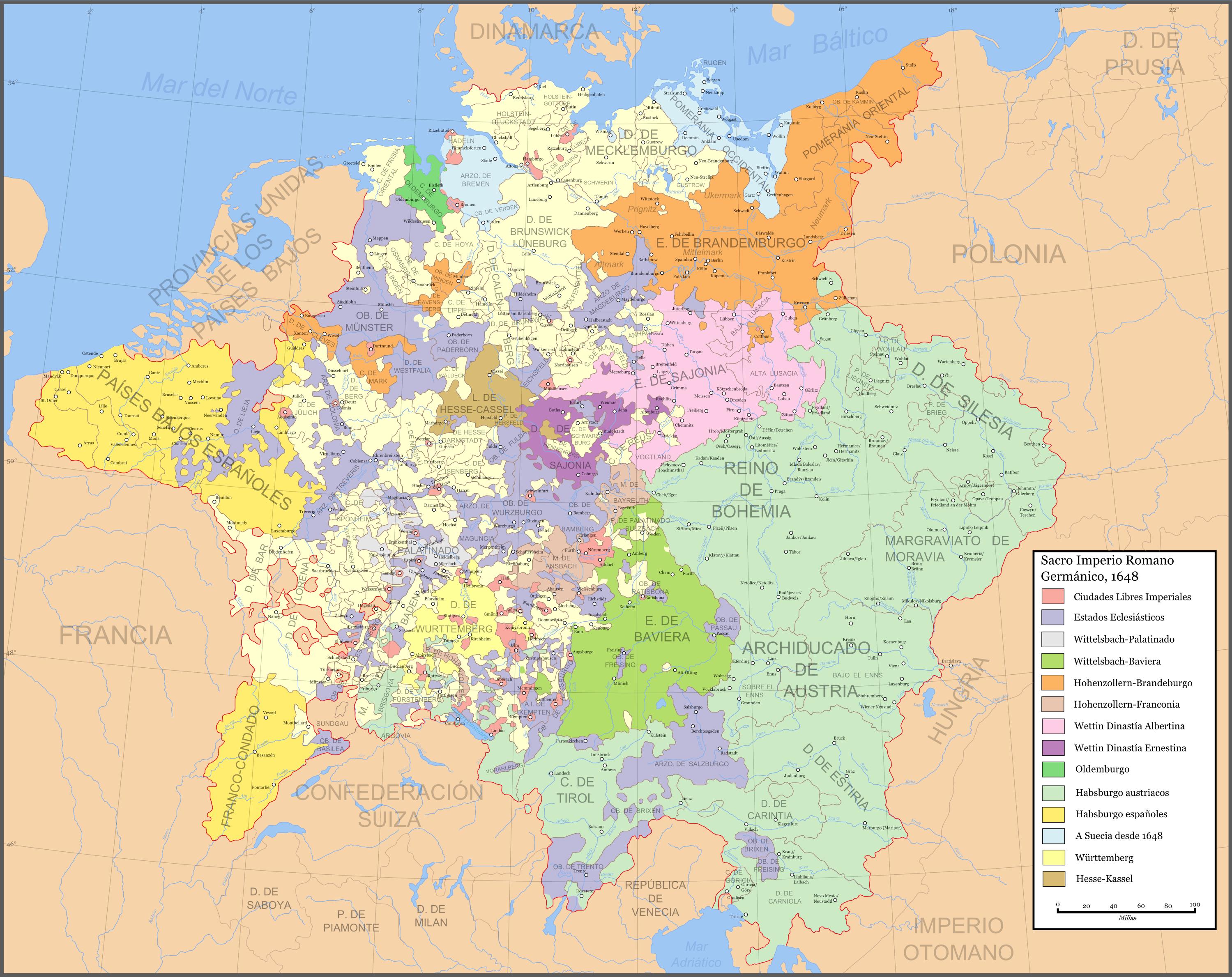 Flandes y el imperio Holy_Roman_Empire_1648-es