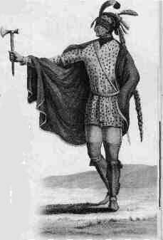 "''Illinois Indian of the [[Kaskaskia Tribe]],'' engraving based on drawing by General Georges-Henri-Victor Collot, 1796<ref>Warren, Robert E. [http://www.lib.niu.edu/2004/iht1110429.html ""Illinois Indians and French Colonists.""] {{Webarchive