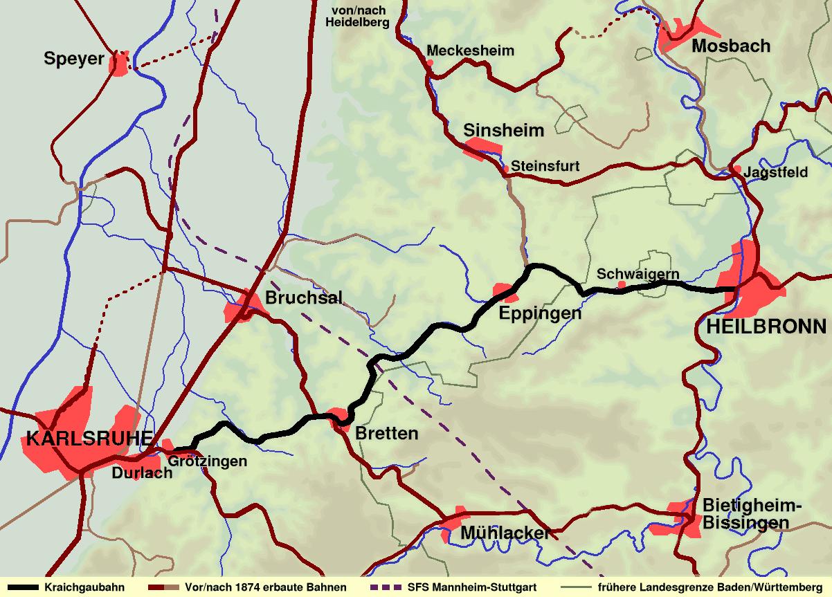 Strecke der Kraichgaubahn
