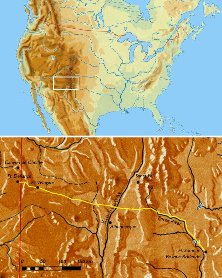 Long Walk Of The Navajo Wikipedia - Us-map-1864