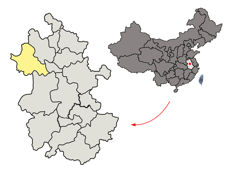 Bestand:Location of Fuyang Prefecture within Anhui (China).png